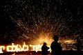 Israeli chanuka celebration sparks into the night sky at holiday Stock Photo
