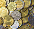Israeli coins huge pile of the of israel Royalty Free Stock Photos