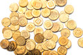 Israeli coins scattered golden with symbols Royalty Free Stock Images