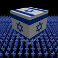 Israeli flag cube with people Royalty Free Stock Images