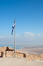 Israeli flag in Masada Royalty Free Stock Photography