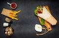 Israeli Food Shawarma on Copy Space