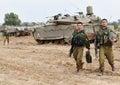Israeli idf tank merkava nachal oz isr nov soldiers near on nov it s battle designed for rapid repair of battle damage Stock Photography