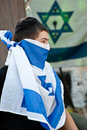 Israeli Jewish Settler Youth with Flag Stock Photo