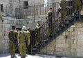 Israeli Soldiers Climbing Steps to Ramparts, Jerusalem Royalty Free Stock Photo
