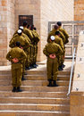 The Israeli soldiers near a western wall, Stock Photography