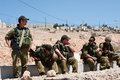 Israeli Soldiers and West Bank Settlement Royalty Free Stock Photos