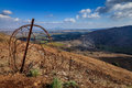 Israeli syrian border view to the between israel and syria from mount bental in golan heights Royalty Free Stock Photo