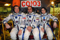 Iss increment crew before launch on soyuz tma m expedition l r t virts a shkaplerov samantha cristoforetti pose for pictures in Stock Photography
