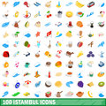 100 istambul icons set, isometric 3d style