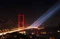 Istanbul bosphorus bridge fireworks and laser show over during turkish republic day celebrations on october Royalty Free Stock Photos
