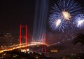 Istanbul bosphorus bridge and fireworks over during turkish republic day celebrations on october Royalty Free Stock Photos