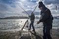 Istanbul bosphorus, fishing rod with the fish hunting Royalty Free Stock Photo