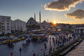 Istanbul city life eminonu district promenade crowded with mostly local people next to the galata bridge in turkey Stock Photography