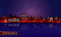 Istanbul city night skyline vector silhouette illustration Stock Images