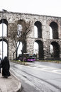 Istanbul february the old roman aqueduct in the city of on february in turkey Royalty Free Stock Images