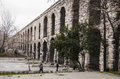 Istanbul february the old roman aqueduct in the city of on february in turkey Royalty Free Stock Image
