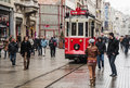 Istanbul february the old tram in taksim on february in turkey Royalty Free Stock Photos