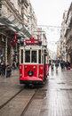 Istanbul february the old tram in taksim on february in turkey Stock Image