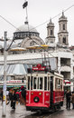Istanbul february the old tram in taksim on february in turkey Royalty Free Stock Image