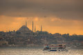 Istanbul ferry sailing in the Sea and Bosphorus Royalty Free Stock Photo