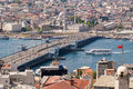 Istanbul historical part of city view from galata tower new mosque golden horn galata bridge Royalty Free Stock Photography