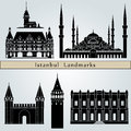 Istanbul landmarks and monuments on blue background in editable vector file Royalty Free Stock Photo
