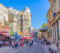 Istanbul old center city life turkey september people walking in street eminonu district with cafes and shops afternoon Stock Image