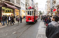 Istanbul red tram turkey november a makes its way alongside shoppers crowding istiklal avenue independence avenue Stock Images