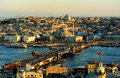Istanbul scenery.View on Golden Horn bay from Galata Tower. Royalty Free Stock Photo