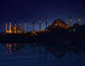 Istanbul silhouette by night with reflection Royalty Free Stock Photography