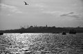 Istanbul skyline black and white image of s historic taken from a ferry boat in the bosphorus Royalty Free Stock Image