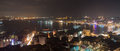 Istanbul skyline from Galata bridge by night, with cruise liners, Turkey