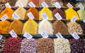 Istanbul spice market spices in the medieval ready for sale Royalty Free Stock Photo
