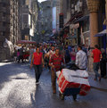 Istanbul street the streets bustle with activity close to the grand bazaar sultanahmet turkey Royalty Free Stock Images