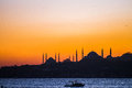 Istanbul sunset beautiful silhouette at on the bosphorus Royalty Free Stock Photo