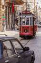 Istanbul trolley turkey – april car on busy street on april in turkey each year patriotic turks honor those fallen at Royalty Free Stock Image
