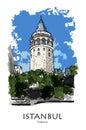 ISTANBUL, TURKEY - Galata tower. Hand created sketch