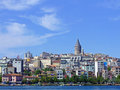 Istanbul turkey july cityscape of on july cityscape with galata tower from bosphorus canal in turkey Royalty Free Stock Photography