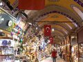 ISTANBUL, TURKEY - MAY, 22, 2019: part the grand bazaar interior with turkish flags on the ceiling in istanbul Royalty Free Stock Photo