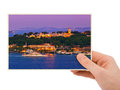 Istanbul turkey photography in hand my photo isolated on white background Royalty Free Stock Image
