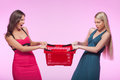 It� mine two angry young women trying to take away one shopping basket while isolated on pink background Stock Image