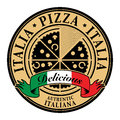 Italia pizza label stamp with text delicious written inside Stock Photo