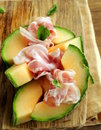 Italian antipasti prosciutto melone melon with smoked ham Royalty Free Stock Photo