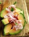 Italian antipasti (prosciutto melone) Royalty Free Stock Photo