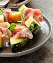 Italian antipasti prosciutto melone melon with smoked ham Stock Photo