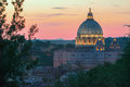 Italian architectural masterpiece during pink sunset in Rome Royalty Free Stock Photo