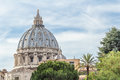 Italian architectural masterpiece rising above Rome street Royalty Free Stock Photo