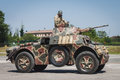 Italian armored car at militalia in milan italy may on display exhibition dedicated to militaria collectors and military Stock Photography