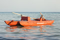 Italian boat rescue lifeguard rescue salvataggio a lifeboat is in the water in the sea panorama with sea and sky in the background Royalty Free Stock Photos